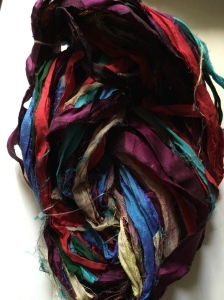 Also from Darn Good Yarn and it's recycled silk ribbon