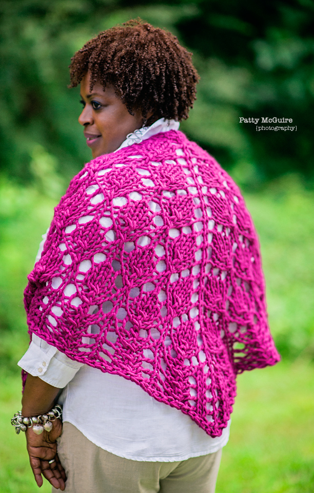 Gaye Glasspie of GGMadeIt modeling knitwear for PattyMac Photos as photographed by Patty McGuire